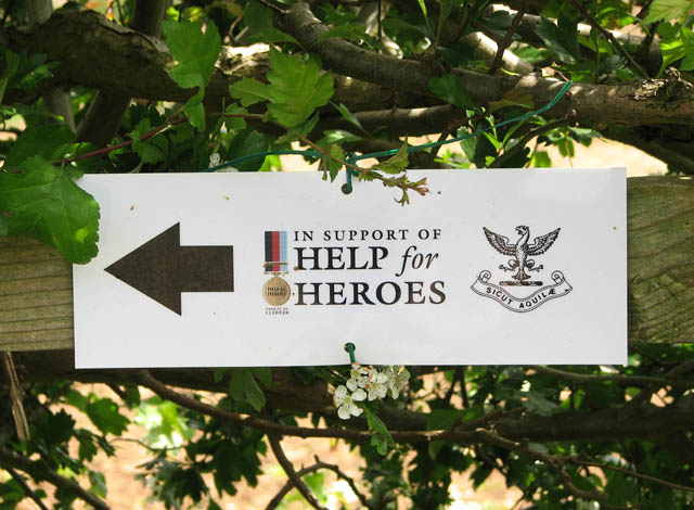 Help for heroes sign